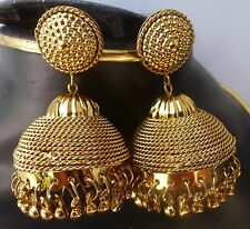 Antique Gold Plated 3 cm Diameter Medium Jhumka Indian Bridal Bollywood Earrings