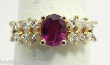 Gorgeous 14k Y/G Oval Ruby & Diamond Ladies Pyramid Ring