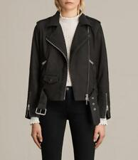 All Saints Willow Leather/Nubuck Biker Jacket Size 10 in Black BNWT £380
