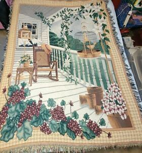 """VTG Cottage Country  Day On The Front Porch Tapestry Throw 67"""" x 48"""""""