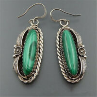 925 Silver Marquise Cut Turquoise Ear Hook Women Jewelry Dangle Drop Earrings
