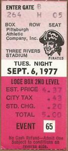 Mike Schmidt HR #164 and 450 Run Scored 9/6/1977 Phillies at Pirates Ticket Stub