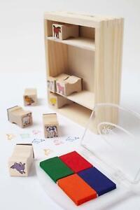 Baby Farm Animals Wooden Stamp Set   Wood Display Box   Kid Friendly Ink