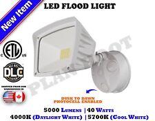 40 WATT White Dusk to Dawn Photocell ETL DLC LED Flood Outdoor Security Light