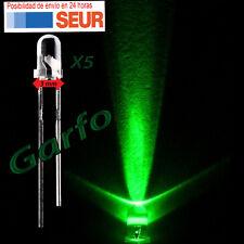 5X Diodo LED 3 mm Verde 2 Pin alta luminosidad