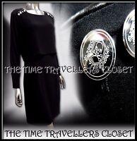 The Kooples Black Silver Skull Button Overlay Leatherette Sheath Dress UK 10
