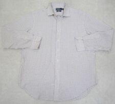 Ralph Lauren Dress Shirt XL 17 36/37 Long Sleeve Button Up White Blue Orange Men