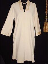 USA M VinTage Robe Ivory Ecru Vanity Fair Fleece Quilted Satin Neckline L/S