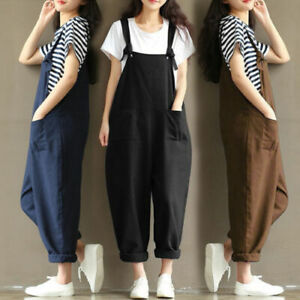 Fashion Women Work Jumpsuit Oversize Baggy Overalls Loose Strappy Dungarees UK