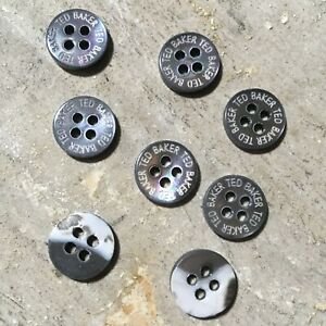 8 x Ted Baker Genuine Branded Replacement Opalescent Grey Circular Buttons 1.1cm
