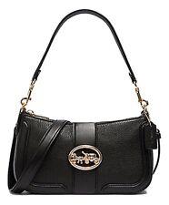 5500 Coach Georgie Baguette Black Leather Bag