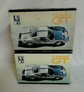 LOOK! TWO ORIGINAL 1960`S IMC FORD GT40 RACE CAR 1/25 MODEL KITS FOR RESTORING