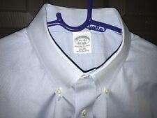 BROOKS BROTHERS NON IRON SLIM MICRO CHECK BLUE PLAID DRESS SHIRT 17.5-35