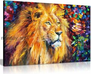 Leonid Afremov LION Abstract Oil Painting Canvas Wall Art Living Room 20X30 INCH