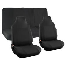 Car Seat Cover Black 4pc Integrated Head Rests Full Set for Auto Universal Fit