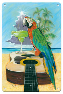 Macaw-garita - Great Green Macaw Margarita - Scott Westmoreland Metal Tin Sign