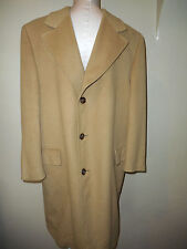 Vintage100% Pure Mongolian Cashmere Beige Tan Overcoat Trench Coat Size Large