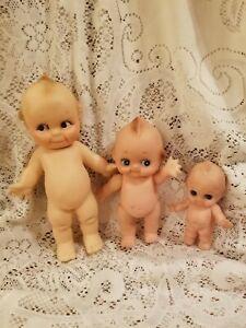 3 Vintage Vinyl Kewpie Dolls ~ Squeaker