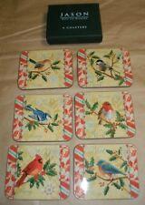 ~NIB~ (6) JASON CHRISTMAS BIRD COASTERS CARDINAL, BLUE JAY, CHICKADEE CORK BACK