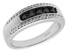 Men's 10K White Gold Matte Rope Real Irradiated Black Diamonds Band Ring 0.50ct