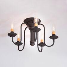 Irvin's Tinware Berkshire Ceiling Light Americana Black Flushmount NEW