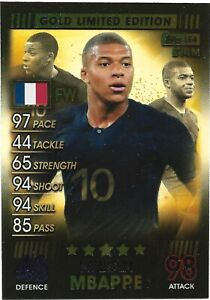 MATCH ATTAX 101 2019 KYLIAN MBAPPE GOLD LIMITED EDITION LE4G