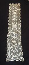Antique Linen Table Cloth Ecru Lace Runner