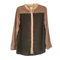 Soft Surroundings Silk Color Block Long Sleeve Button Down Blouse Size XS Petite