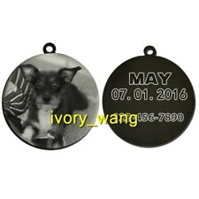 personalized pet ID tags 2-side custom photo dog/cat ROUND TAG