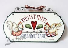 Targa targhetta decorativa country legno per porta con frasi BENVENUTI CASA