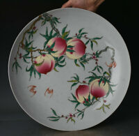 China old antique Porcelain yongzheng famille rose painting peach Bat plate