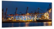 Leinwand Bild Leinwand Bild Hamburg Hafen Überseehafen Container Kran Elbe Verla