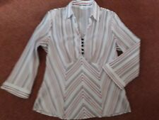 M&S white/red/black striped collared V neck 3/4 sleeve pull-on shirt, size 12