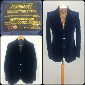 Blue Velvet Blazer Size 38-40 Short Evening Dandy Smoking Jacket St Michael