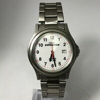 Vintage Timex Mens Expedition Indiglo Date Stainless Steel Analog Wristwatch