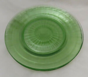 Yellow Depression Glass Vaseline Glass 8.5 Lunch Plate Salad Plate