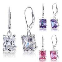 4 Carat Emerald Cut CZ Dangle Sterling 925 Silver Bridal Wedding Earrings