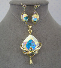 "SWAROVSKI ""AB"" CRYSTAL ELEMENTS PENDANT & DANGLE EARRINGS WITH NECKLACE"