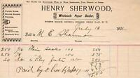 1901 HENRY SHERWOOD*PAPER DEALER*BURNS BLOCK*SENECA ST*PENN YAN*NEW YORK*RECEIPT