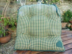 Set of two Green Gingham Country Cottage style cotton seat pads