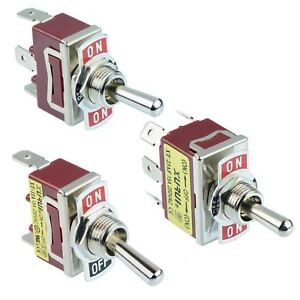 Single or Double Pole Toggle Flick Switch 15A 250VAC - SPST SPDT DPST DPDT