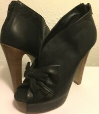 Aldo Womens Black Leather Open Toe Bow Stiletto Ankle Boots Shoes 36 Or 5 1/2