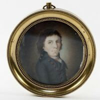 Antique Portrait Miniature, a  French Revolution Military Officer, Bronze Frame