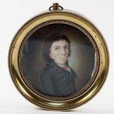Antique Portrait Miniature, a  French Revolution Military Officer, Bronze Frame