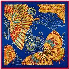 """Silk Scarf Butterfly Dark Blue 39"""" X 39"""" Square Shawl Wrap Red Trim Twill Silk"""