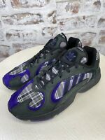 Adidas Yung-1 PLAID Core Black Purple Mens Running Shoes Sneakers Size 10.5