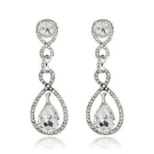 Alloy Party Earrings Jewelry Gift Sweet Fashion Females Clear Glass Rhinestones