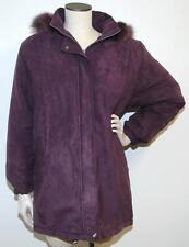 Worthington Womens Purple ¾ Length Jacket Fur Trim Coat Size Medium NWT $149 G5