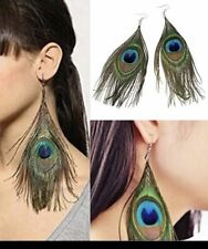 Large Peacock Feather Earrings Boho Festival Party Boutique Luxury Blue Green Uk