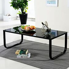 Retro Glass Coffee Side Table with Black Metal Legs Living Bedroom Furniture NEW